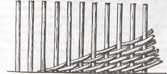 Косой ряд. Плетение одиночным прутом