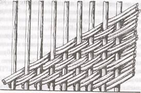 Плетение косого ряда сдвоенными прутьями