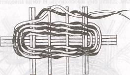 Заплетка дна продолговатой корзины